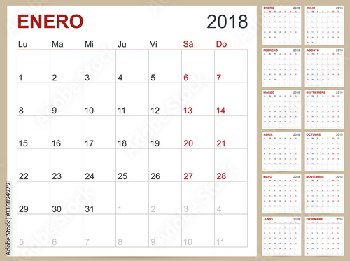 Weekly Calendar In Spanish : Quot calendar spanish template for year