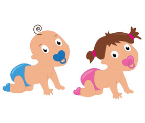 Cute baby boy and girl crawling in diapers.