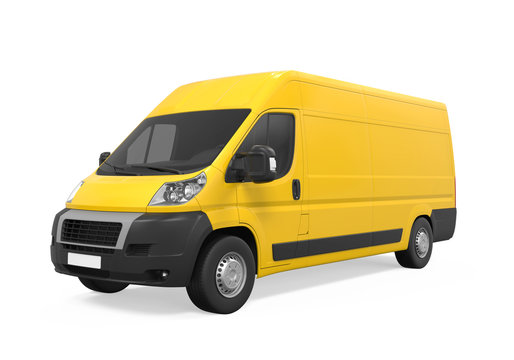 Yellow Delivery Van Isolated