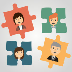 Puzzles with people. Concept communication.