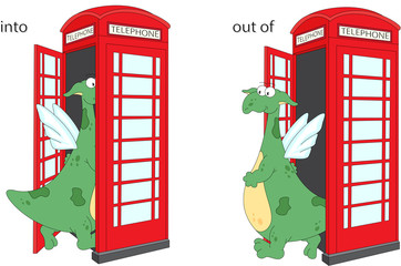 Cartoon dragon goes into and out of telephone box. English gramm