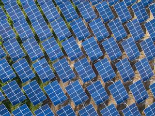 Top view of Solar panels (solar cell) in solar farm