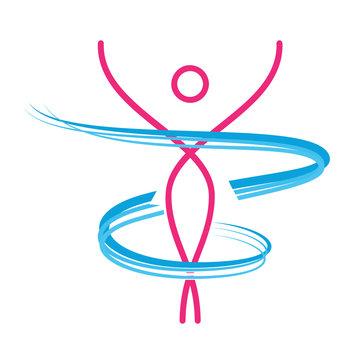 Vector abstract girl dancing. Concept of healthy diet