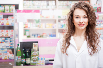 Pharmacist at her work place