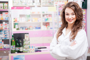 Pharmacist woman at her work