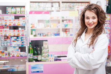 Smiling Pharmacist at her work place