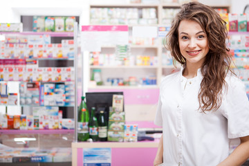 Female Pharmacist at her work place