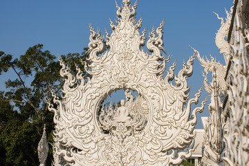Photo sur Plexiglas Monument Détail du White Temple, Chiang Rai, Thaïlande