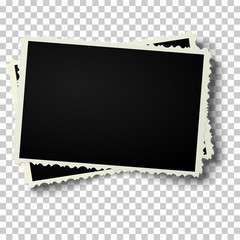 Two realistic vector retro photo frames with a shaped edges