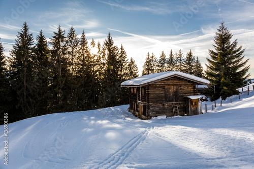 h tte steht in der landschaft mit b ume im winter fotos de archivo e im genes libres de. Black Bedroom Furniture Sets. Home Design Ideas