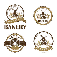 Vector set of vintage bakery logo