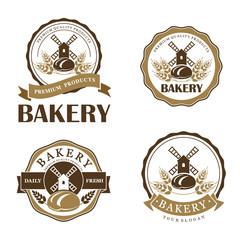 Vector set of vintage bakery logo