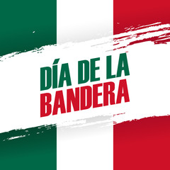 Dia de la Bandera. Mexico Flag Day holiday banner with brush stroke. 24th february. Vector Illustration.