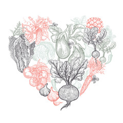 Vector set with vegetables in the form of heart.