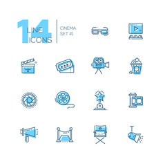Cinema and movie line icons set