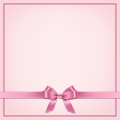 Vector realistic pink postcard template with ribbon and bow.