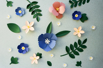 Handmade Papercraft Flowers Isolated Art
