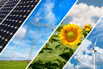 Concept of renewable energy and sustainable resources - photo collage