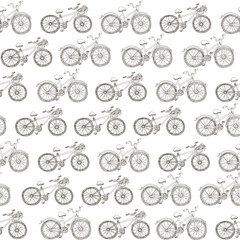 seamless pattern drawing bicycles