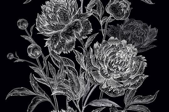 Garden flowers peonies seamless pattern.
