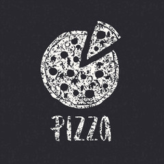 Pizza lettering with hand drawn pizza circle.