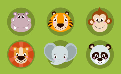 Big set head of animals icons. Vector collection funny face of animals. Cute face of animals: elephant, hippo, tiger, lion, panda