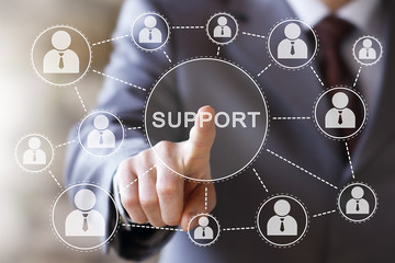 Wall Mural - Business button support network