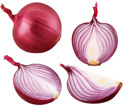 bulb red onion set cut isolated on white background