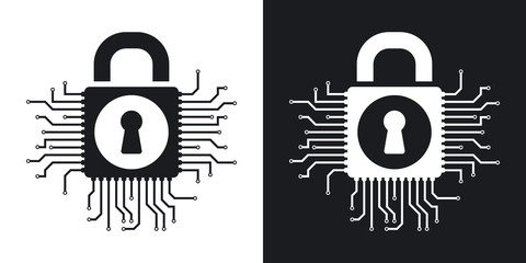Vector information security concept icon. Two-tone version on black and white background