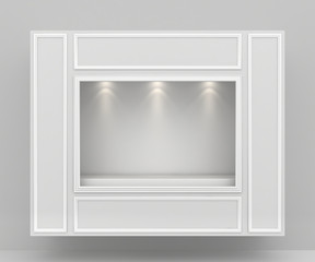 Showcase gallery with light bulbs. 3d rendering