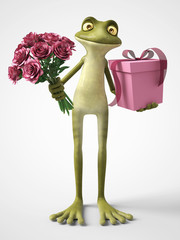 3D rendering of romantic cartoon frog holding a bouquet of roses