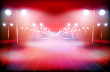 Illuminated way in the city. Vector illustration.