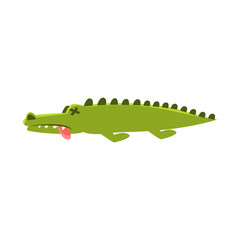 Crocodile Laying Dead And Sick , Cartoon Character And His Everyday Wild Animal Activity Illustration