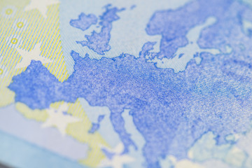 Detailed close up of Europe on a twenty Euro banknote