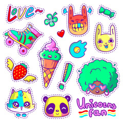 Neon vector patch badges with animals, characters and things. Hand-drawn stickers, pins in cartoon 80s-90s comics style. Set with african woman, angry bunny, adorable kitten, etc.