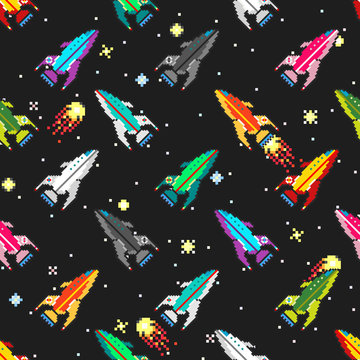 Colorful futuristic spaceships floating in deep space among the
