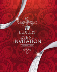 Luxury event invitation card with silver ribbons and red floral background. Vector illustration