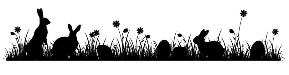 Silhouettes of cute Easter bunnies on a flower meadow
