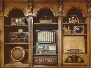 Sepia toned image of old radio's