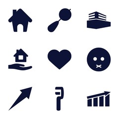 Set of 9 web filled icons