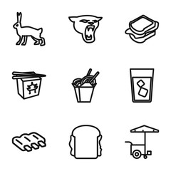 Set of 9 fast outline icons