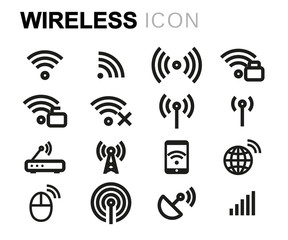 Vector line wireless icons set