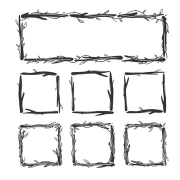 Set of floral frames with sticks and branches isolated on white. Vector floral square frames.