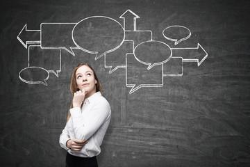 Pensive woman and flow chart on blackboard