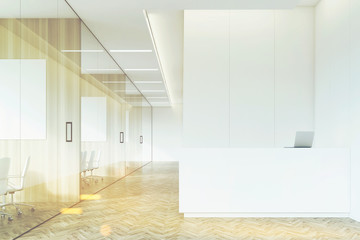 Company corridor with reception and glass, toned
