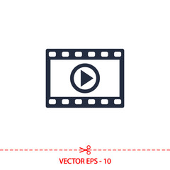 video icon, vector illustration. Flat design style