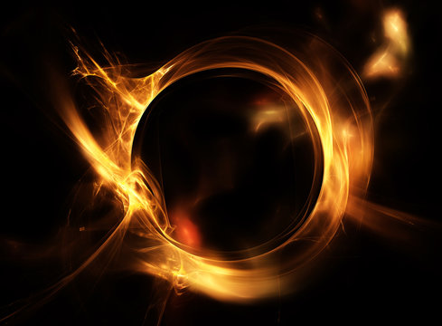 Fire circle on a black background