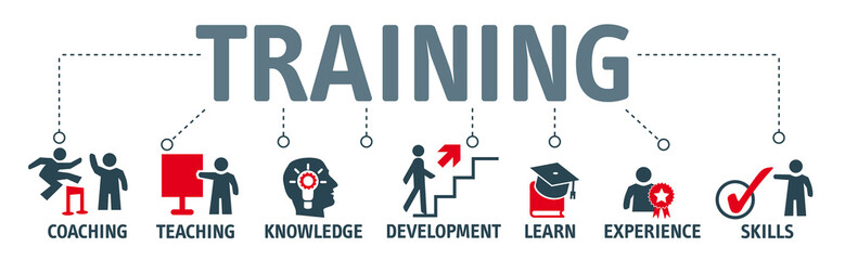 Banner Training and learning concept Wall mural