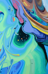 Abstract Design Creativity Background of Blue and Green Waves