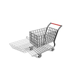 Empty shopping cart. Isolated on white background.Cartoon style.
